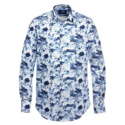 Akona Blue Printed Men's Shirt