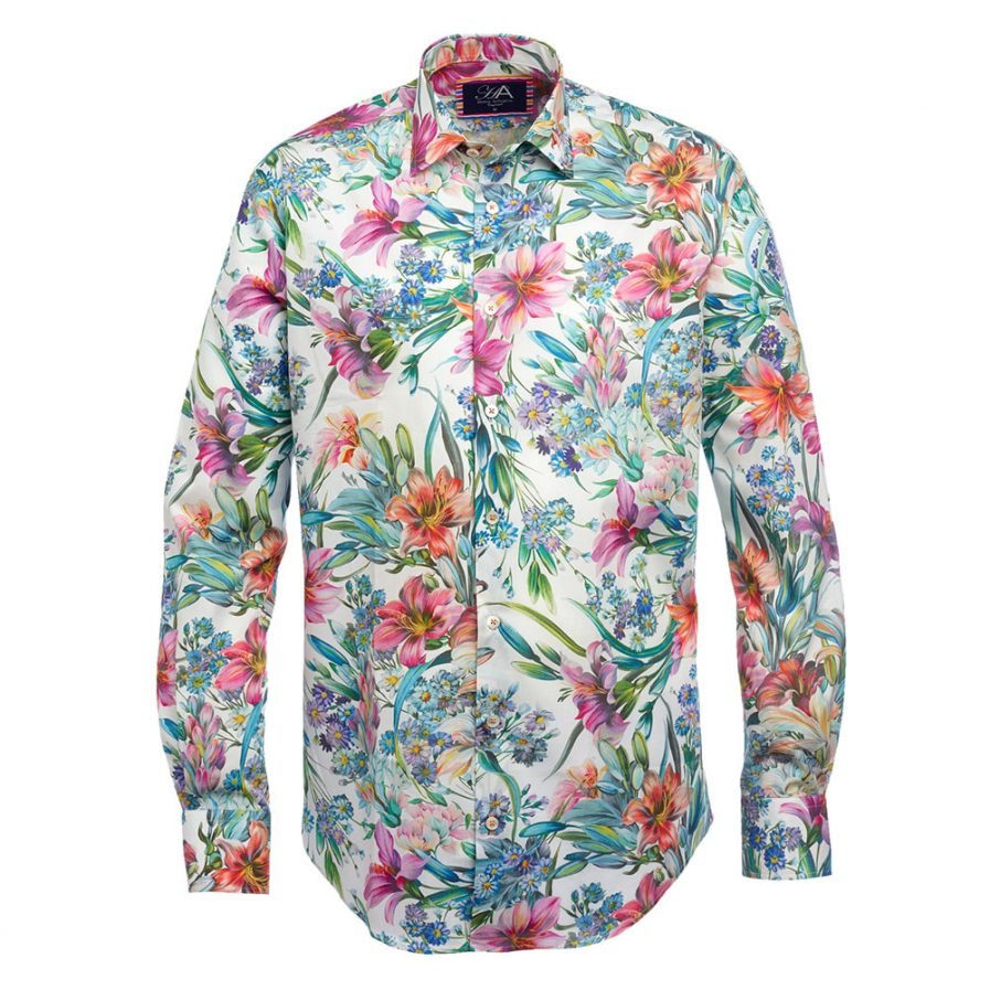 Bell Orange floral Print Men's Shirt