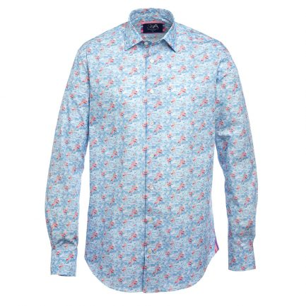 Henry Arlington Printed Men's Shirts in Flamingo Blue