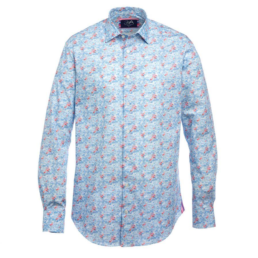 Henry Arlington Printed Men's Shirts in Flamingo Blue