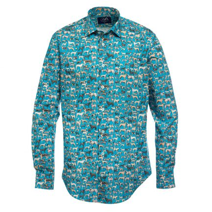 Show Teal Dog Print Mens Shirt