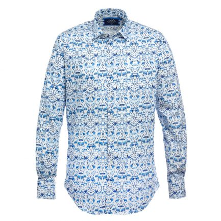 Henry Arlington Sumatran Blue Printed Men's Shirt