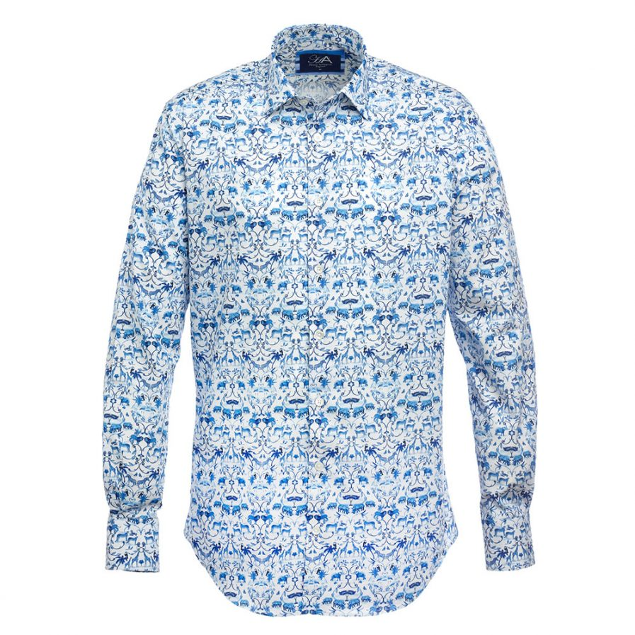 Henry Arlington Sumatran Blue Printed Men's Shirt