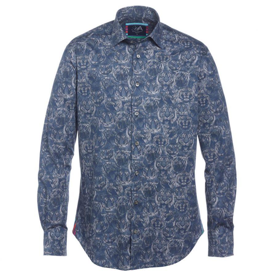 Henry Arlington Men's Blue Tiger Shirt