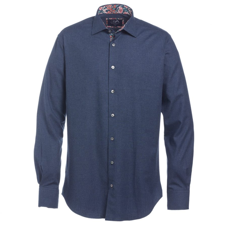 Henry Arlington Men's Dark Blue Herringbone Shirt