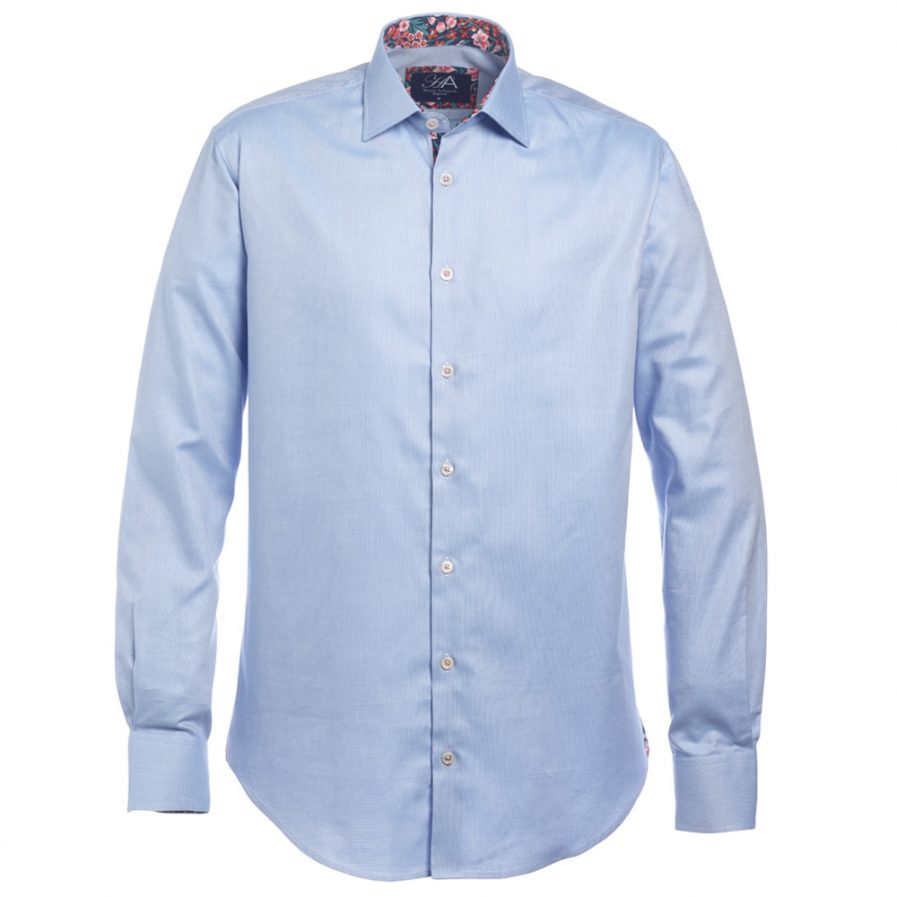 Henry Arlington Men's Sky Blue Textured Shirt