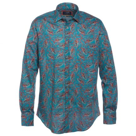 Henry Arlington Men's Blue Peacock Feather Shirt