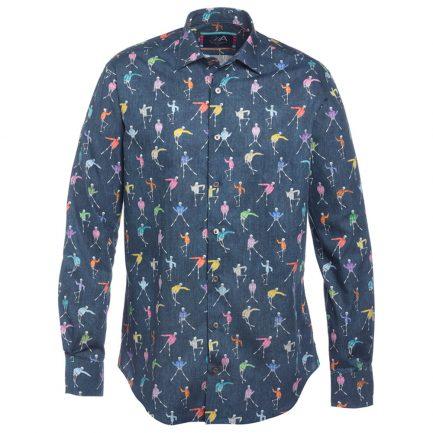 Henry Arlington Men's Blue Skeleton Shirt