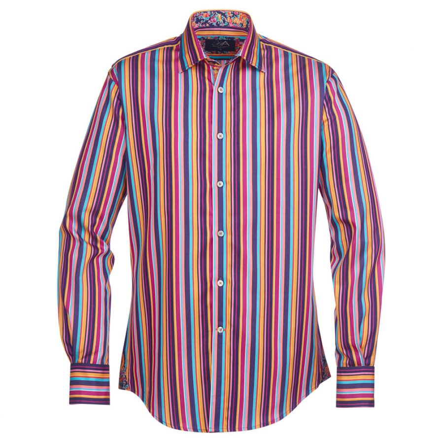 Henry Arlington Cayman Orange Stripe Mens Shirt