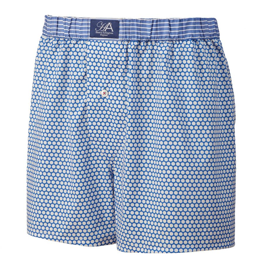 Henry Arlington Blue with White Spots Boxer Shorts