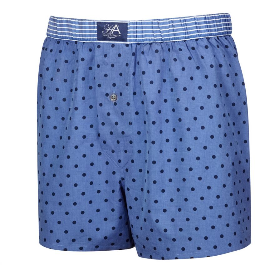 Henry Arlington Blue with Navy Spots Boxer Shorts