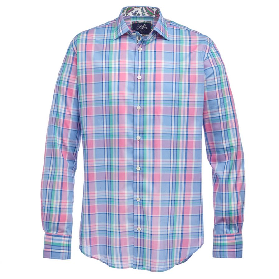 Henry Arlington Men's Blue & Pink Madras Check Shirt