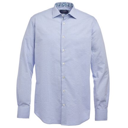Henry Arlington Men's Blue Seersucker Shirt