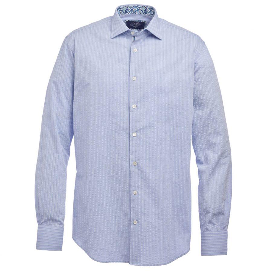 Henry Arlington Men's Blue Seersucker Shirt