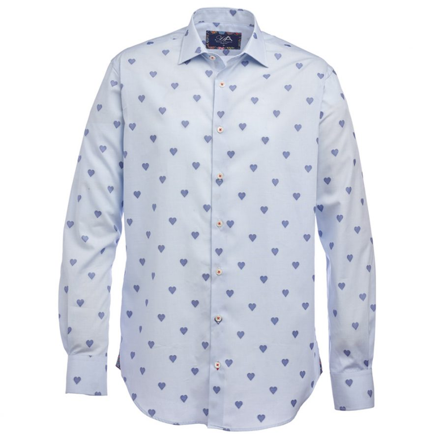 Henry Arlington Men's Blue Heart Shirt